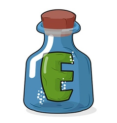E in magic bottle Letter in a bottle for vector image vector image
