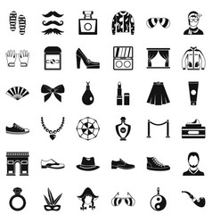 Fashion life icons set simple style vector