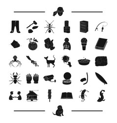 Fishing laundry insect and other web icon in vector
