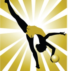 golden gymnastics vector image