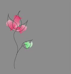 Hand-drawn abstract flower with paint strokes vector