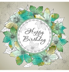 Happy Birthday greeting card with beautiful vector image vector image