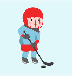 Hockey player boy with stick attitude bandage on vector