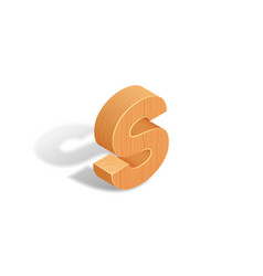 isometric wooden letter a with shadow vector image vector image