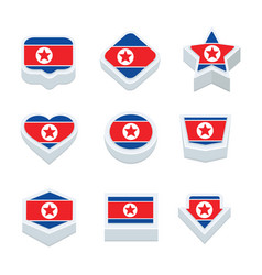 Korea north flags icons and button set nine styles vector