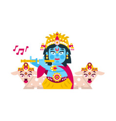 Lord krishna sitting in the lotus position in vector