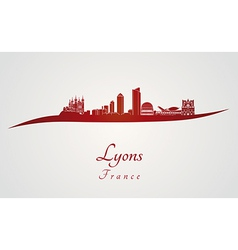 Lyons skyline in red vector