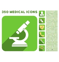 Microscope icon and medical longshadow icon set vector