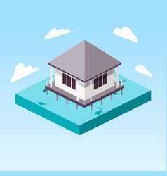Overwater bungalow in ocean isometric vector