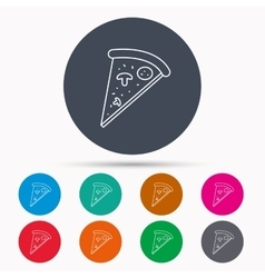 Pizza icon Piece of Italian bake sign vector image