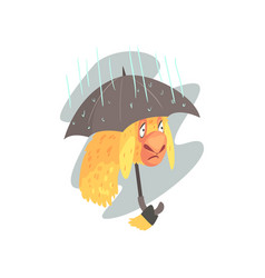 Sad llama character walking with umbrella in rainy vector