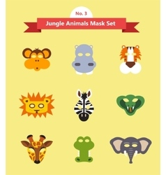 Set of animal masks set 3 jungle animals vector
