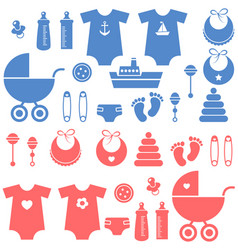 Set of baby boy and girl elements icons vector