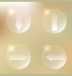 set of glassy arrows icons set of glassy arrows vector image