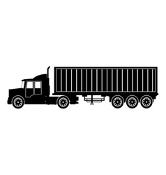 Silhouette truck trailer container delivery vector