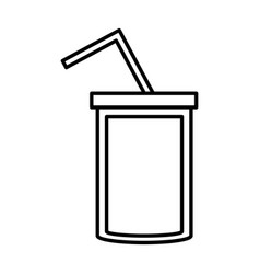 Soda cup straw juice outline vector