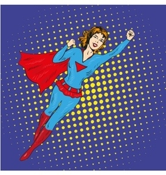 Super hero woman flying poster in comic vector