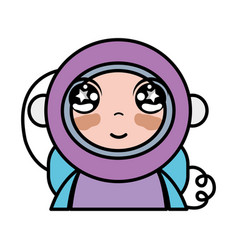 Tender astronaut with equipment to kawaii avatar vector