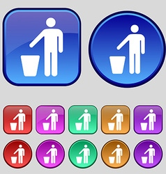 Throw away the trash icon sign a set of twelve vector