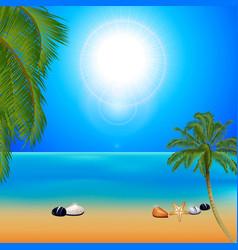 Tropical sunny beach with palm trees vector