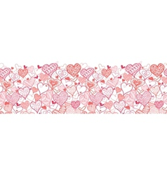 Valentines Day Hearts Horizontal Seamless Pattern vector image vector image