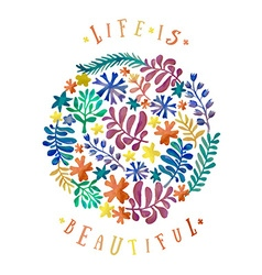 Watercolor floral collection awesome flowers made vector