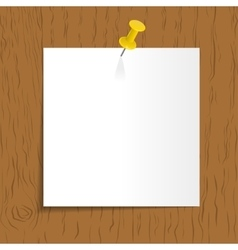 White reminder with pin on wooden background vector