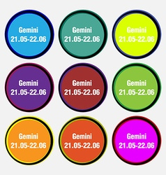Gemini icon sign nine multi colored round buttons vector