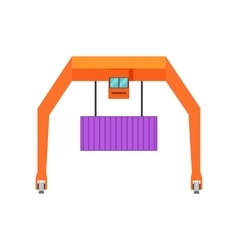 Industrial crane loading container vector