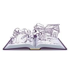 Russian fairy tale the turnip open book vector
