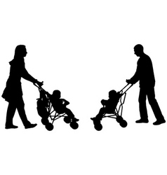 Parents pushing strollers vector
