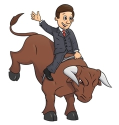 Businessman is riding bull 2 vector