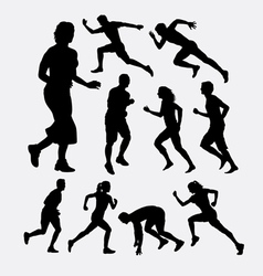 People running silhouettes vector image