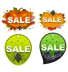 Set halloween sale template label vector