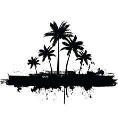 grunge palm trees vector image