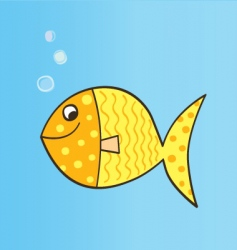 Gold cartoon fish vector