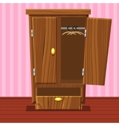 Cartoon empty open wardrobe living room wooden vector