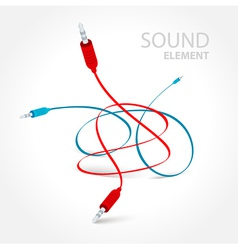 Cable connector curve bend red blue color vector