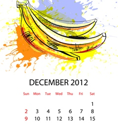 calendar with fruit for 2012 december vector image vector image