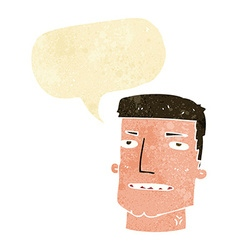 Cartoon male head with speech bubble vector