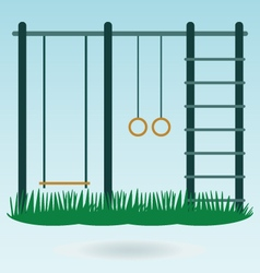 Childrens playground with swings vector