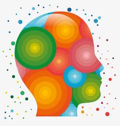 colorful human head icon vector image