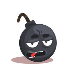 Comic bomb emoji cartoon character with bored vector