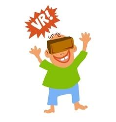 Comic cartoon style boy with Virtual reality glass vector image
