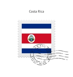 Costa Rica Flag Postage Stamp vector image