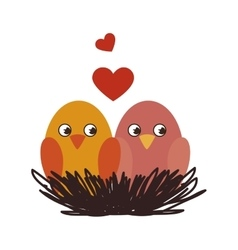 cute birds decorative card vector image vector image