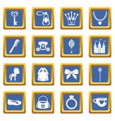 Doll princess items icons set blue vector