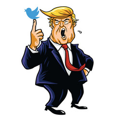 Donald trump with his blue bird cartoon vector
