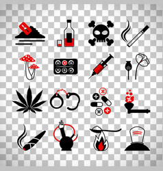 drugs and alcohol addiction icons vector image