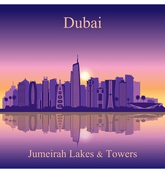 Dubai Jumeirah Lakes Towers silhouette on sunset b vector image vector image